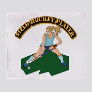 Field Hockey Player with Text Throw Blanket