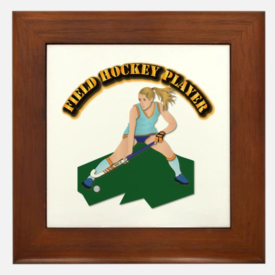 Field Hockey Player With Text Framed Tile
