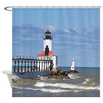 Michigan City East Pier & Bkw Light Shower Cur