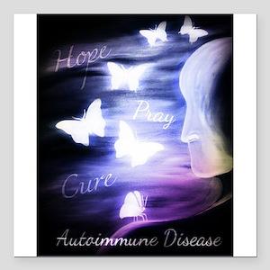 "Hope, Pray, Cure Autoimm Square Car Magnet 3"" x 3"""