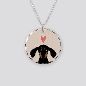 Dachshund Love Necklace Circle Charm