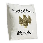 Fueled by Morels Burlap Throw Pillow