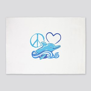 PEACE LOVE AND DOLPHINS 5'x7'Area Rug