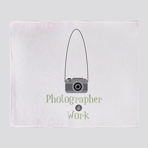 Photographer at work Throw Blanket