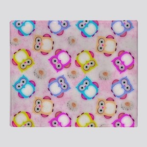 Owls Wallpaper, candy Throw Blanket