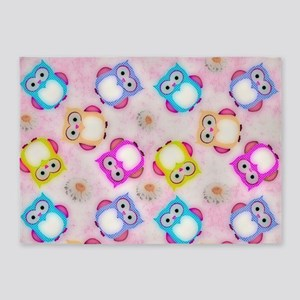 Owls Wallpaper, candy 5'x7'Area Rug