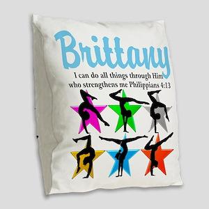 UPLIFTING GYMNAST Burlap Throw Pillow