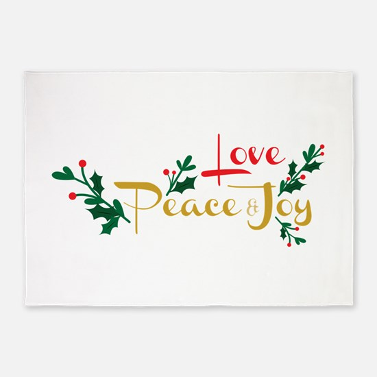 Love, Peace & Joy 5'x7'Area Rug