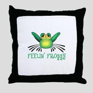 FEELIN FROGGY Throw Pillow