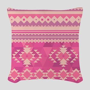 Pink Aztec Woven Throw Pillow