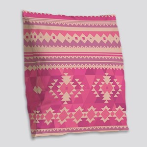 Pink Aztec Burlap Throw Pillow