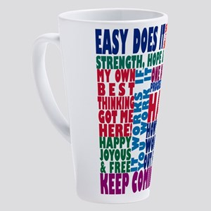 AA 12 Step Slogans 8k 17 oz Latte Mug