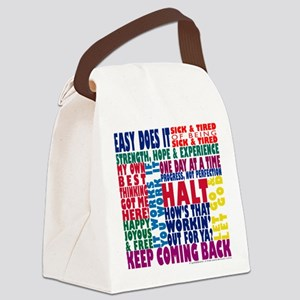 AA 12 Step Slogans 8k Canvas Lunch Bag