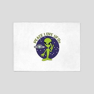 PEACE LOVE UFOS 5'x7'Area Rug