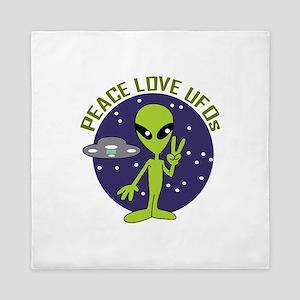 PEACE LOVE UFOS Queen Duvet