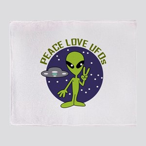 PEACE LOVE UFOS Throw Blanket