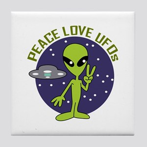 PEACE LOVE UFOS Tile Coaster