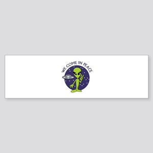 WE COME IN PEACE Bumper Sticker