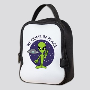WE COME IN PEACE Neoprene Lunch Bag