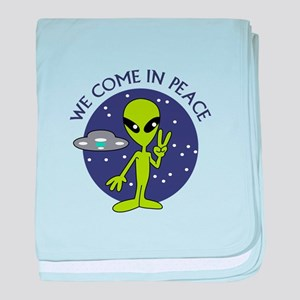 WE COME IN PEACE baby blanket