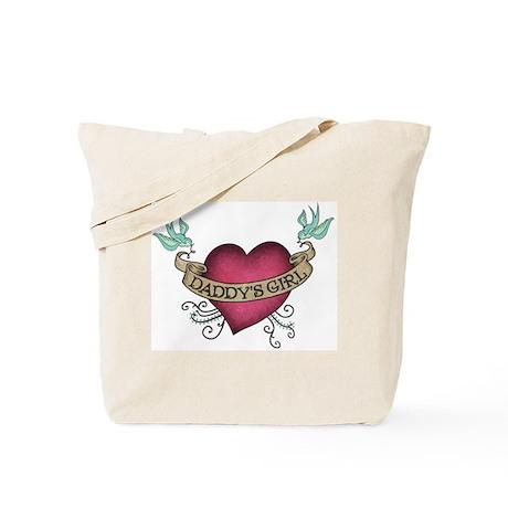 Daddy's Girl Heart Bird Tattoo Tote Bag