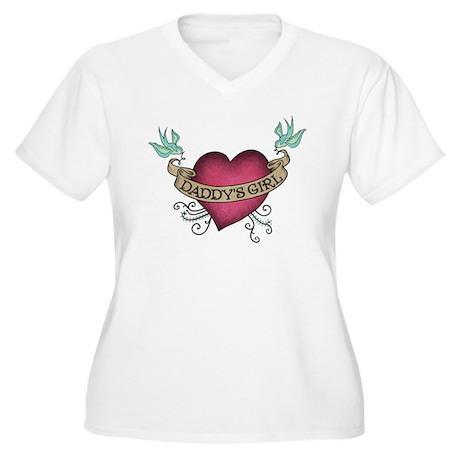 Daddy's Girl Heart Bird Tattoo Women's Plus Size V