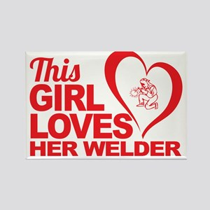 This Girl Loves Her Welder Rectangle Magnet