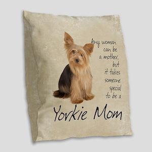 Yorkie Mom Burlap Throw Pillow