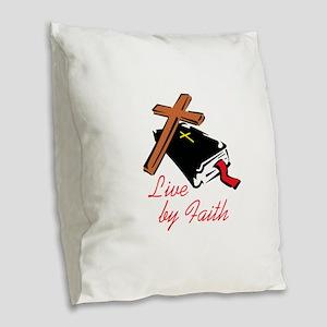 LIVE BY FAITH Burlap Throw Pillow