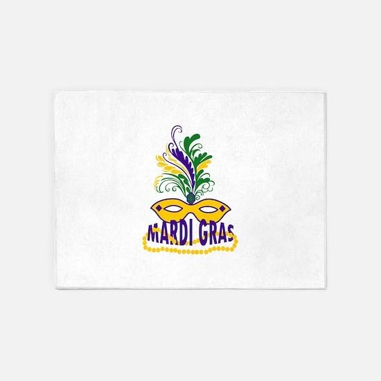 MARDI GRAS MASK AND BEADS 5'x7'Area Rug
