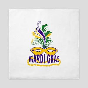 MARDI GRAS MASK AND BEADS Queen Duvet