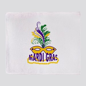 MARDI GRAS MASK AND BEADS Throw Blanket