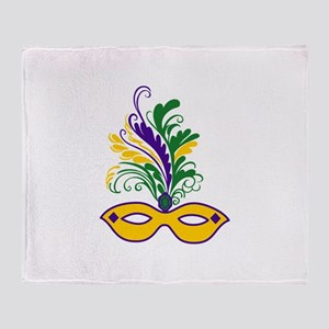 MARDI GRAS MASK Throw Blanket