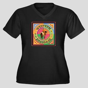 Western Dres Women's Plus Size V-Neck Dark T-Shirt