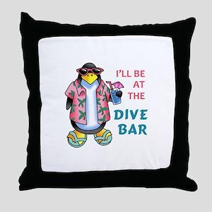 AT THE DIVE BAR Throw Pillow