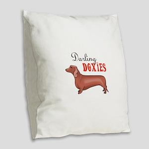 DARLING DOXIES Burlap Throw Pillow