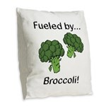 Fueled by Broccoli Burlap Throw Pillow