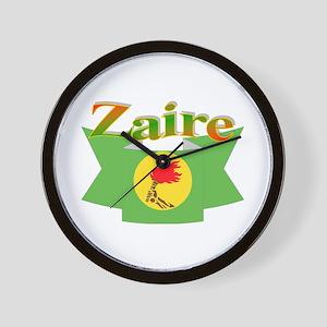 Zaire ribbon flag Wall Clock