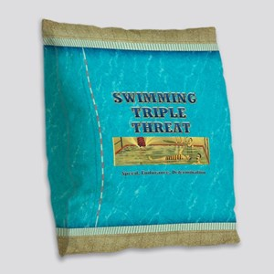 Swimming Triple Threat Burlap Throw Pillow