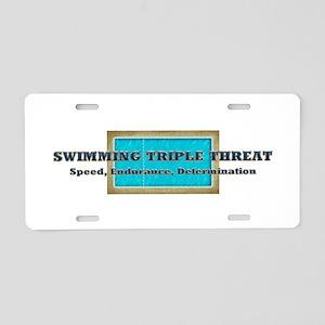 Swimming Triple Threat Aluminum License Plate