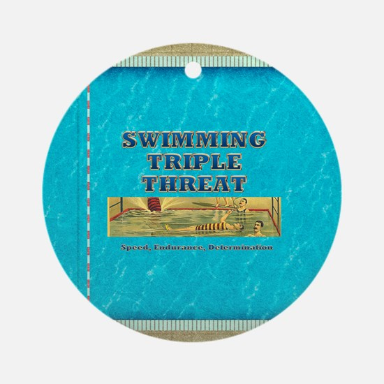 Swimming Triple Threat Ornament (round)
