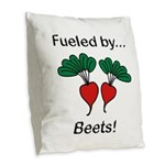 Fueled by Beets Burlap Throw Pillow
