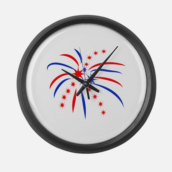 PATRIOTIC FIREWORKS Large Wall Clock