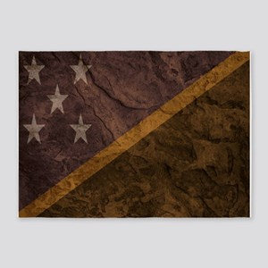 Solomon Islands flag Rock wall. 5'x7'Area Rug