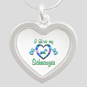 Love My Schnauzer Silver Heart Necklace