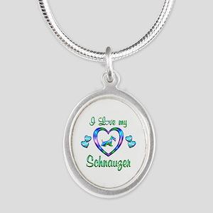 Love My Schnauzer Silver Oval Necklace