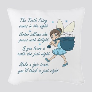 TOOTH FAIRY POEM Woven Throw Pillow