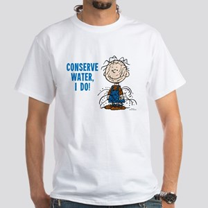 The Peanuts: Conserve Water White T-Shirt