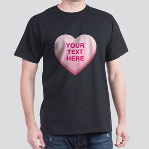 Pink Custom Candy Heart Dark T-Shirt