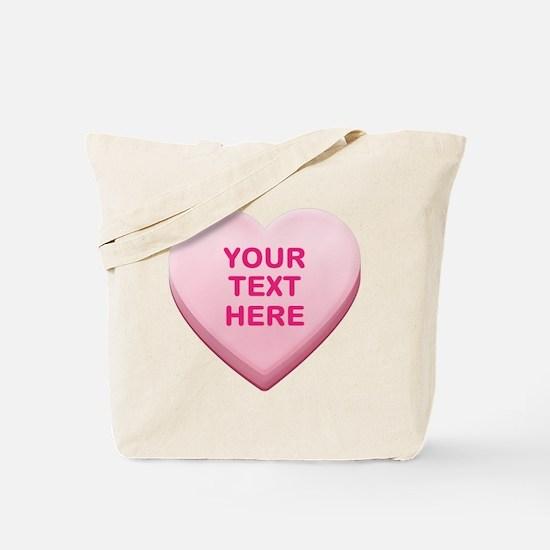 Pink Custom Candy Heart Tote Bag